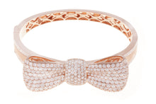 Load image into Gallery viewer, 18K Rose Gold Diamond Bow Design Bangle With Round Cut Diamonds 7.84CT
