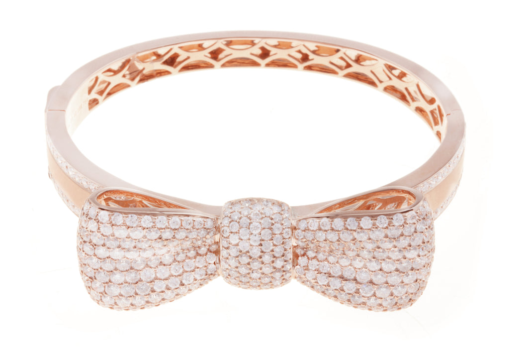 18K Rose Gold Diamond Bow Design Bangle With Round Cut Diamonds 7.84CT