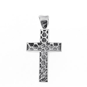 Unisex White Gold Cross with Black and White Diamonds