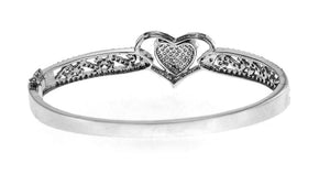 14K White Gold Diamond Heart Bangle With Round Cut Diamonds 2.00CT