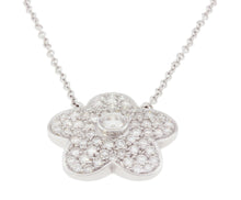 Load image into Gallery viewer, 18K White Gold Diamond Flower Pendant with Chain 2.75CT