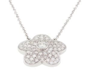 18K White Gold Diamond Flower Pendant with Chain 2.75CT