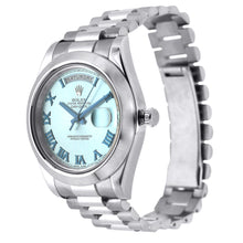 Load image into Gallery viewer, Platinum Rolex Day Date II President 41mm Ice Blue with Blue Roman Numerals Dial 218206