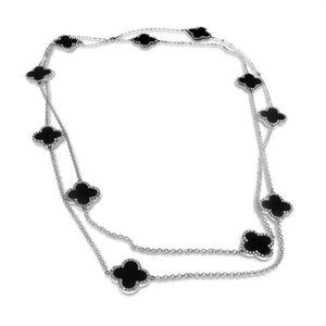 18K White Gold Diamond Necklace With Black Onyx And Round Cut Diamonds 2.30CT