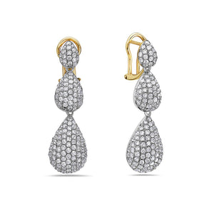14K Yellow Gold Ladies Earrings With Round Shaped Diamonds