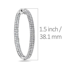 Load image into Gallery viewer, 18K White Gold Hoop Ladies Earrings With Round Shaped Diamonds