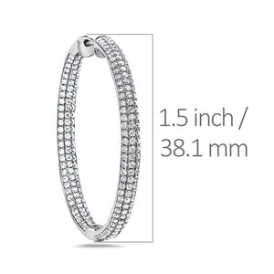 18K White Gold Hoop Ladies Earrings With Round Shaped Diamonds