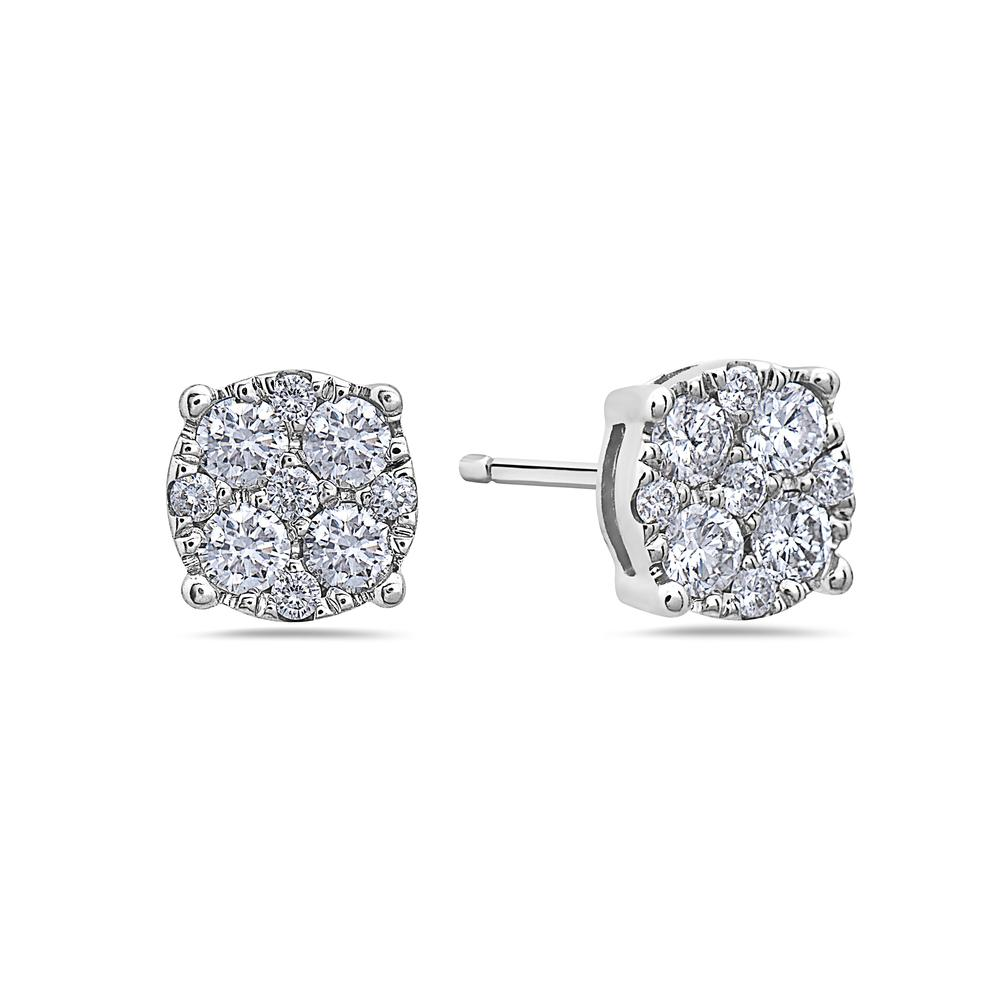 14K White Gold Ladies Earrings With 0.50 CT Diamonds