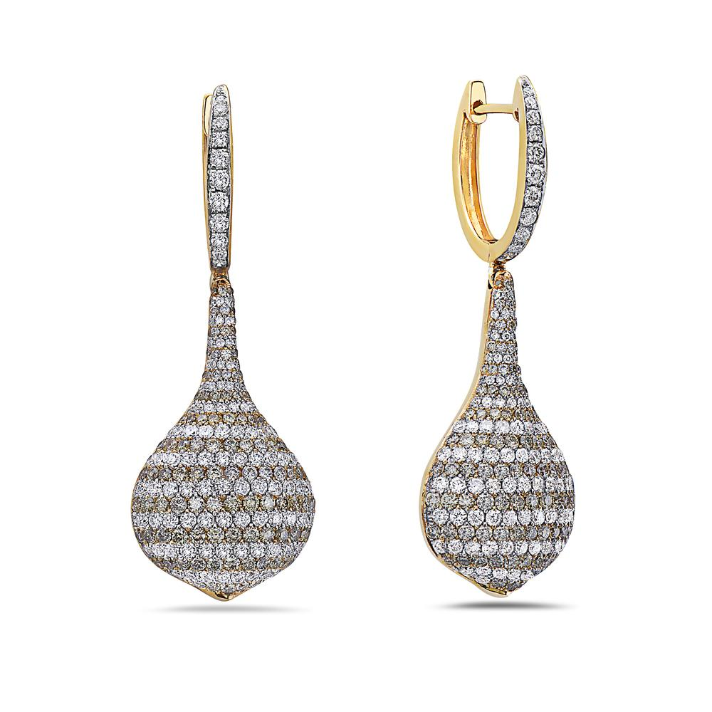 18K Yellow Gold Ladies Earrings With 5.41 CT Diamonds