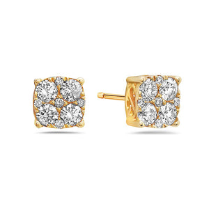 Unisex 14K Yellow Gold Earrings With Round Shape Diamonds