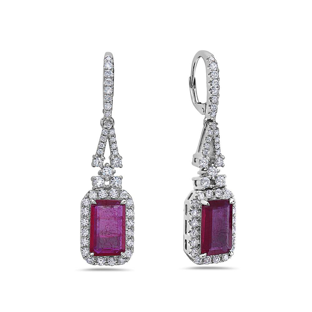 18K White Gold Ladies Earrings With White: 1.77 CTW Ruby: 5.68 CTW Diamonds