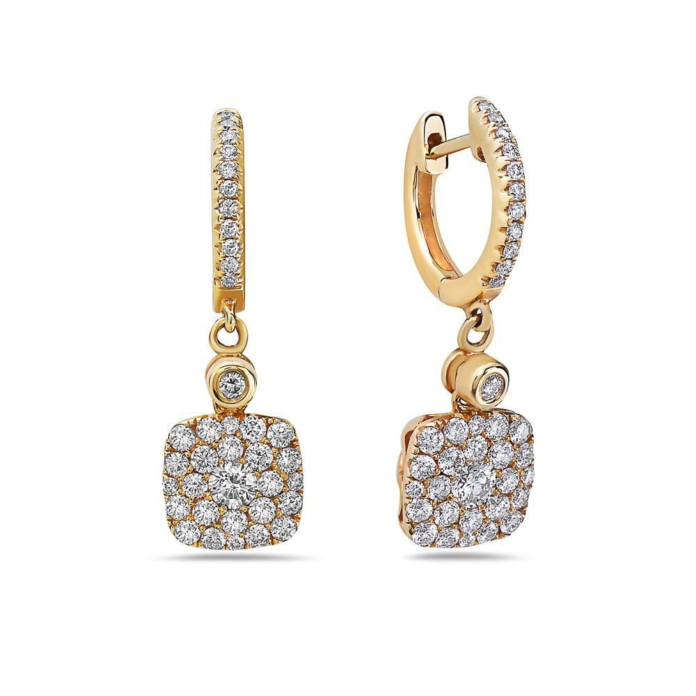 18K Yellow Gold Ladies Earrings With 1.04 CT Diamonds