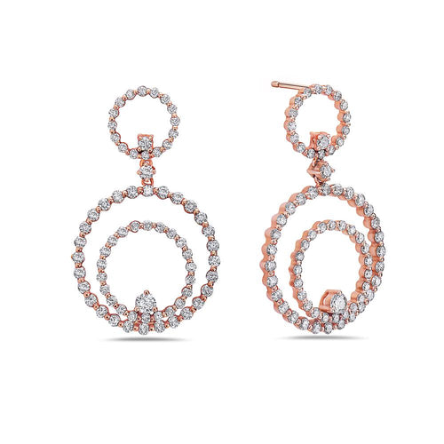 18K Rose Gold Ladies Earrings With 2.78 CT Diamonds