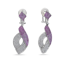 Load image into Gallery viewer, 18K White Gold Ladies Earrings Witt Round Shaped  Diamonds