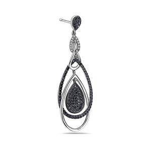18K White Gold Ladies Earrings With White And Black Diamonds