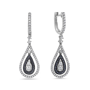 18K White Gold Ladies Tears Shaped Earrings With  Black And White Diamonds