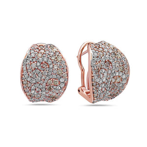 18K Rose Gold Ladies Earrings With White and Yellow Diamonds