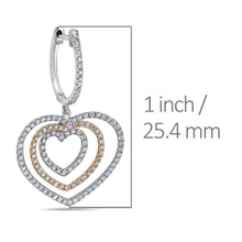 Load image into Gallery viewer, 18K White Gold Ladies Heart Shaped  Earrings With White Diamonds
