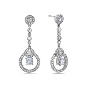 18K White Gold Ladies Earrings With 1.40 CT Diamonds