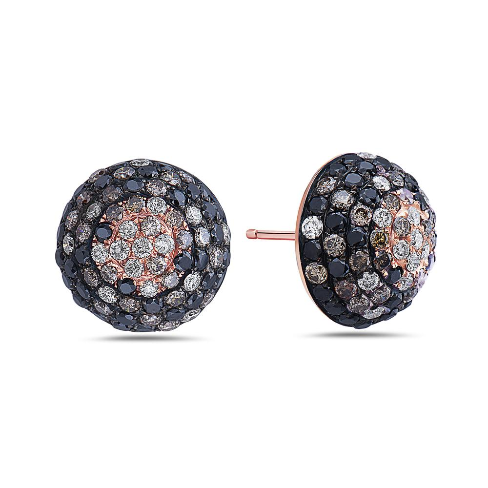 18K Rose Gold Half Sphere Shaped  Ladies Earrings With  Diamonds