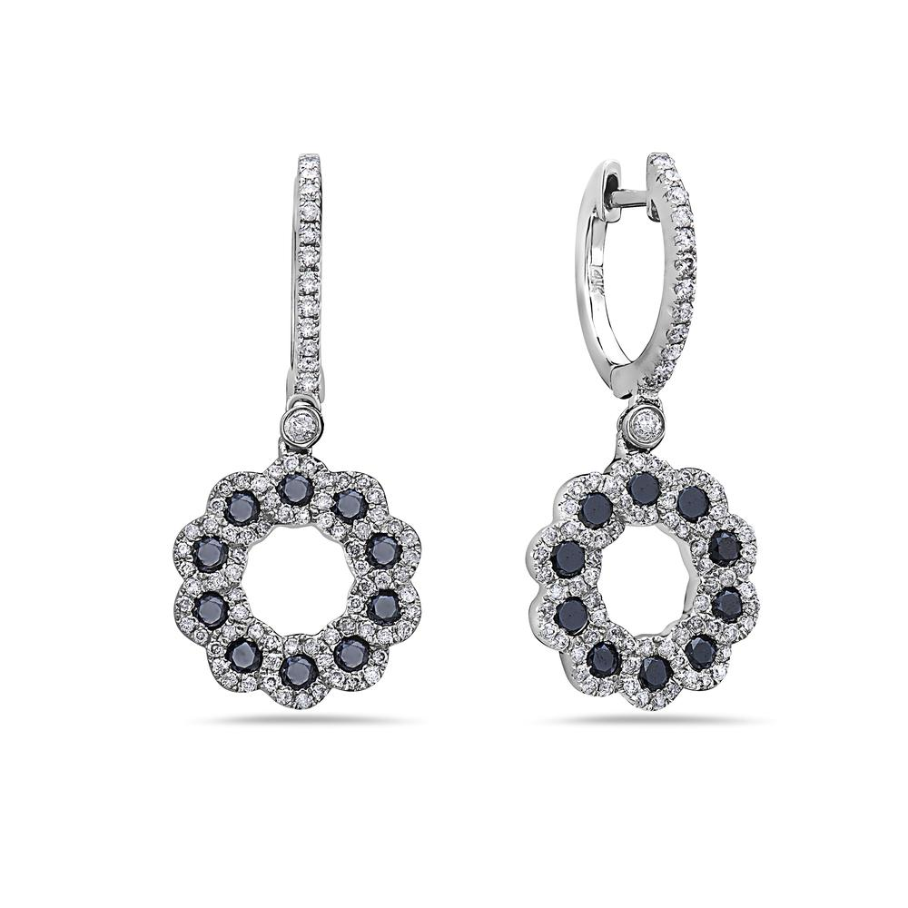 14K White Gold Flower Shaped Ladies Earrings With Black Diamonds
