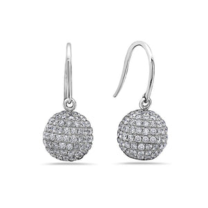 18K White Gold Sphere Shaped  Ladies Earrings With Diamonds
