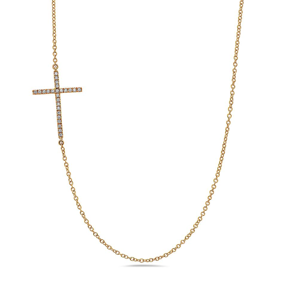 18K Yellow Gold Cross Women's Necklace With 0.24 CT Diamonds