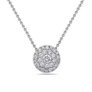 18K White Gold Full Disk Women's Necklace With 0.97 CT Diamonds