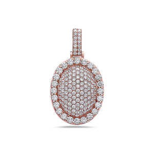 Men's 14K Rose Gold Oval Pendant with 3.25 CT Diamonds