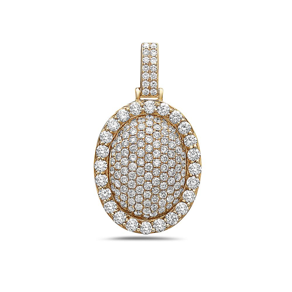 Men's 14K Yellow Gold Oval Pendant with 3.30 CT Diamonds