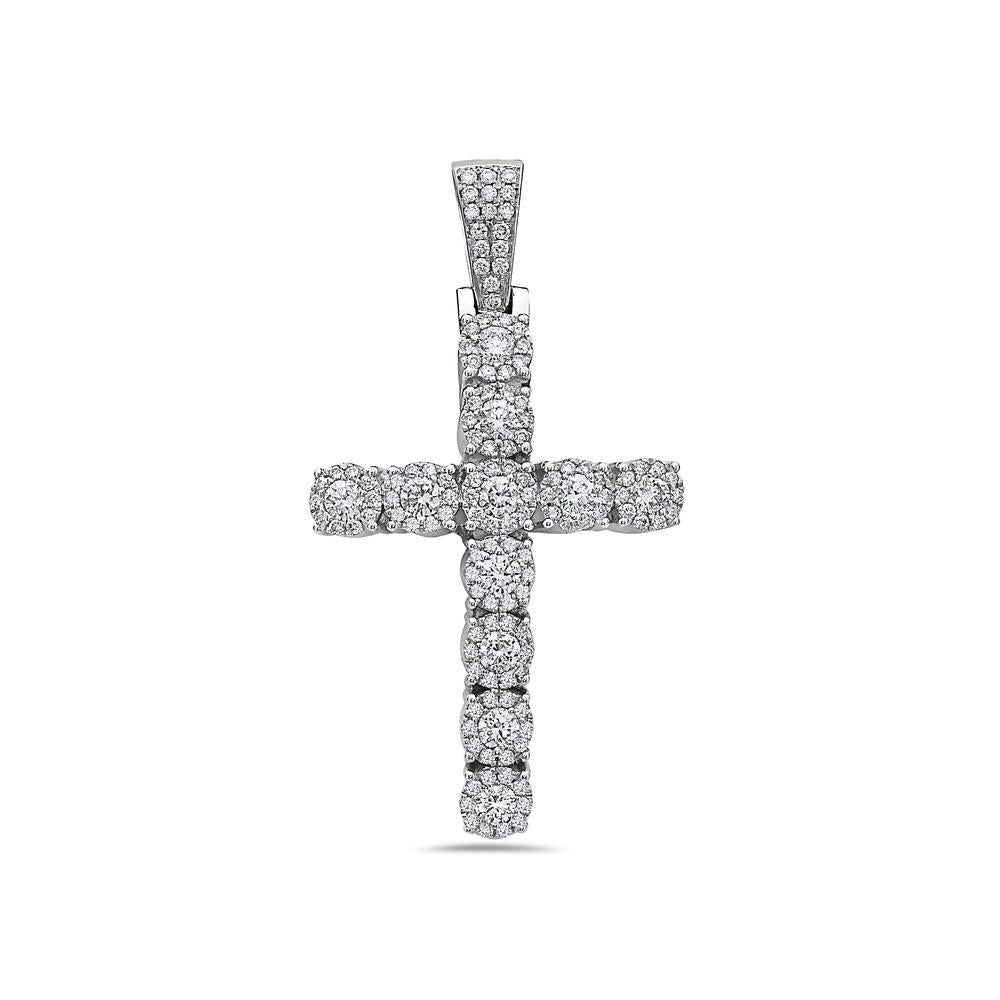 Unisex 14K White Gold Cross Pendant with 2.20 CT Diamonds
