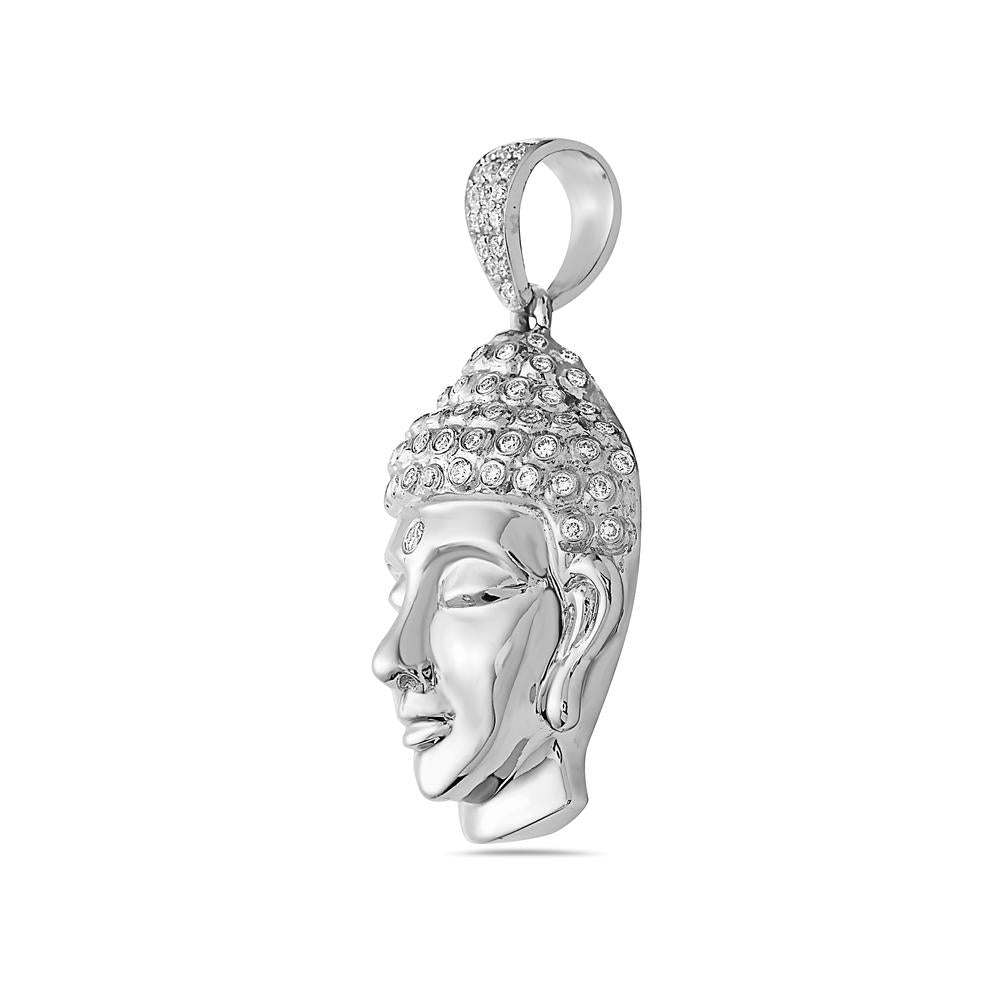14K White Gold Buddha Women's Pendant With 0.90 CT Diamonds