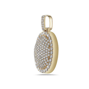 Men's 14K Yellow Gold Oval Pendant with 4.80 CT Diamonds