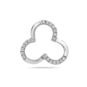 18K White Gold Clover Women's Pendant With 0.15 CT Diamonds