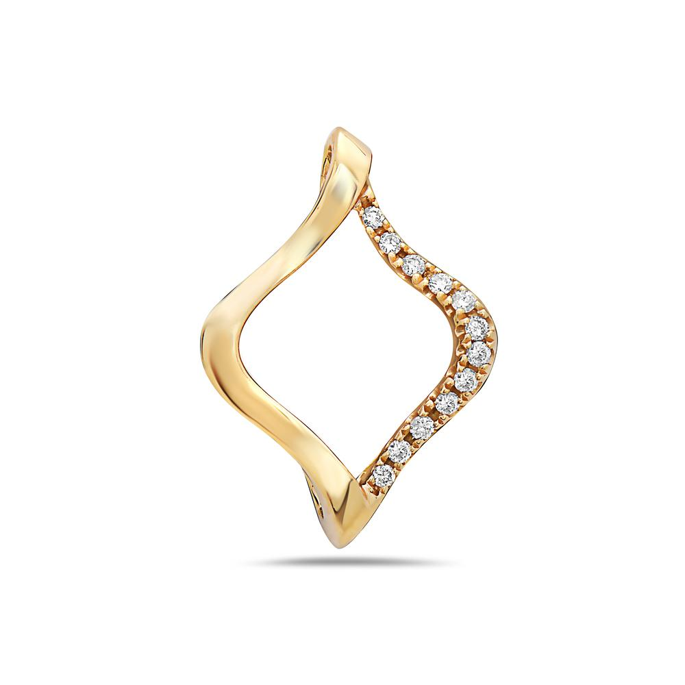 18K Yellow Gold Floating Shape Women's Pendant With 0.09 CT Diamonds