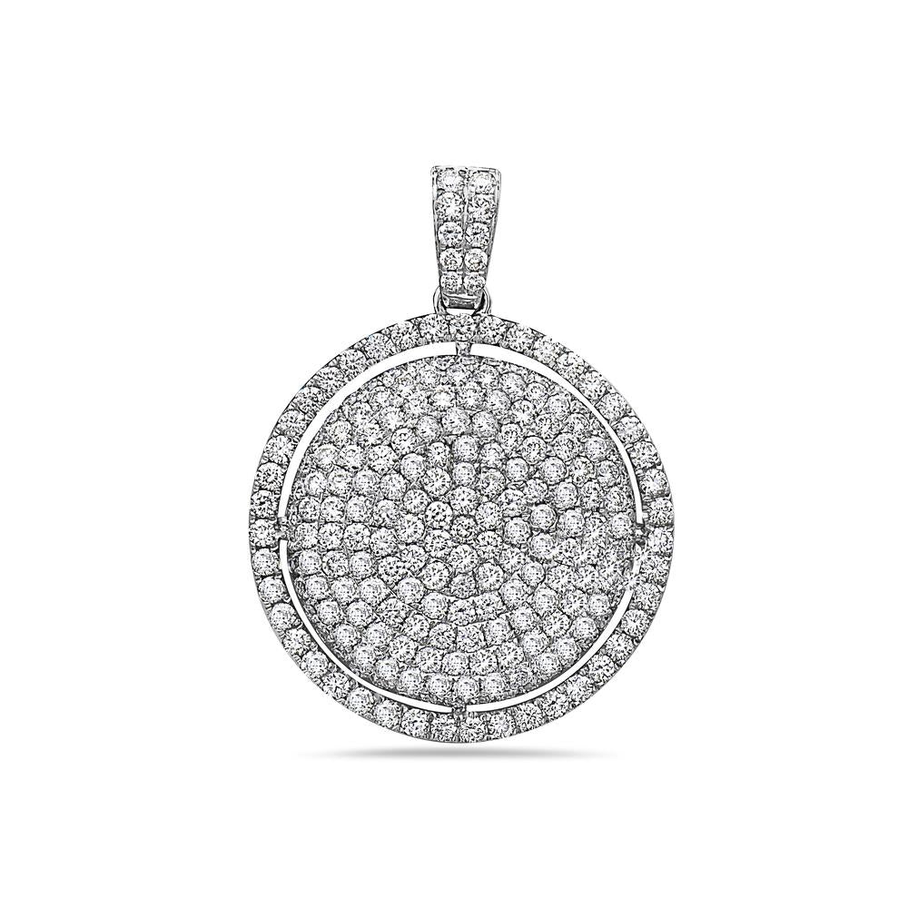 Men's 14K White Gold Circle Pendant with 3.36 CT Diamonds