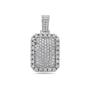Unisex 14K White Gold Dog Tag Pendant with 3.52 CT Diamonds