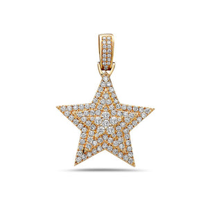 14K Yellow or White Gold Star Women's Pendant With 1.35 CT Diamonds