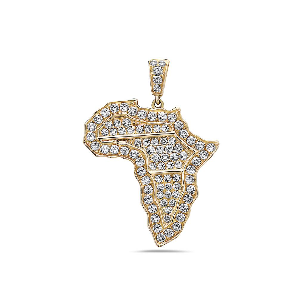 Men's 14K Yellow Gold Africa Pendant with 1.10 CT Diamonds
