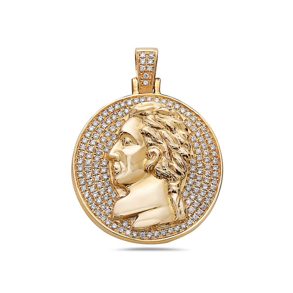 14K Yellow Gold History Characters Pendant With 0.60 CT Diamonds