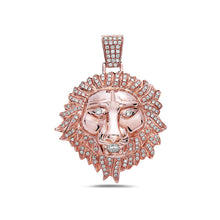 Load image into Gallery viewer, 14K Rose Gold Lion Pendant With 1.62 CT Diamonds