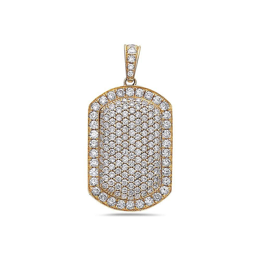 Men's 14K Yellow Gold Dog Tag Pendant with 2.25 CT Diamonds