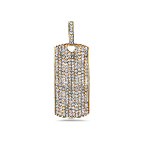 Men's 14K Yellow Gold Dog Tag Pendant with 4.25 CT Diamonds