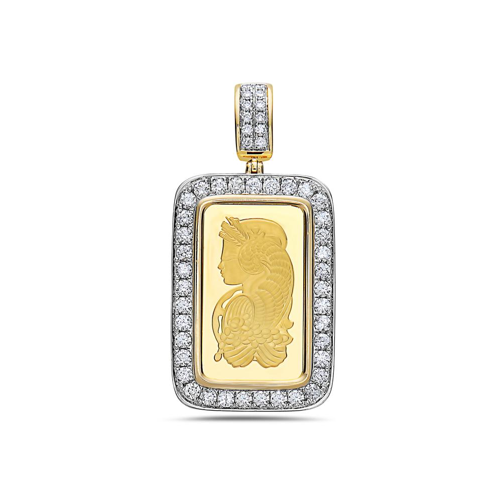 14K Yellow Gold Greek figure with Frame Pendant With 2.06 CT Diamonds