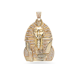 14K Yellow Gold Egyptian Figure Pendant With 0.65 CT Diamonds