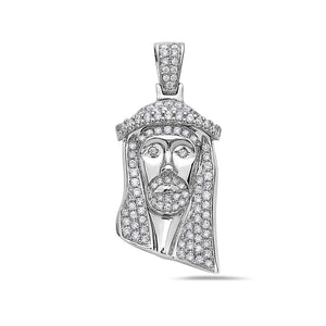 Men's 14K White Gold Jesus Head Pendant with 1.35 CT Diamonds