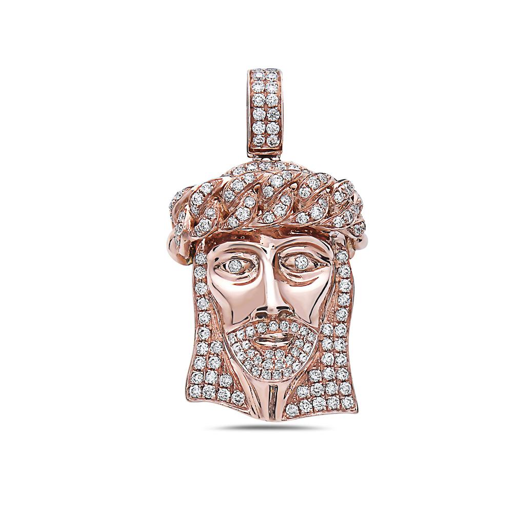 Men's 14K Rose Gold Jesus Head Pendant with 1.05 CT Diamonds
