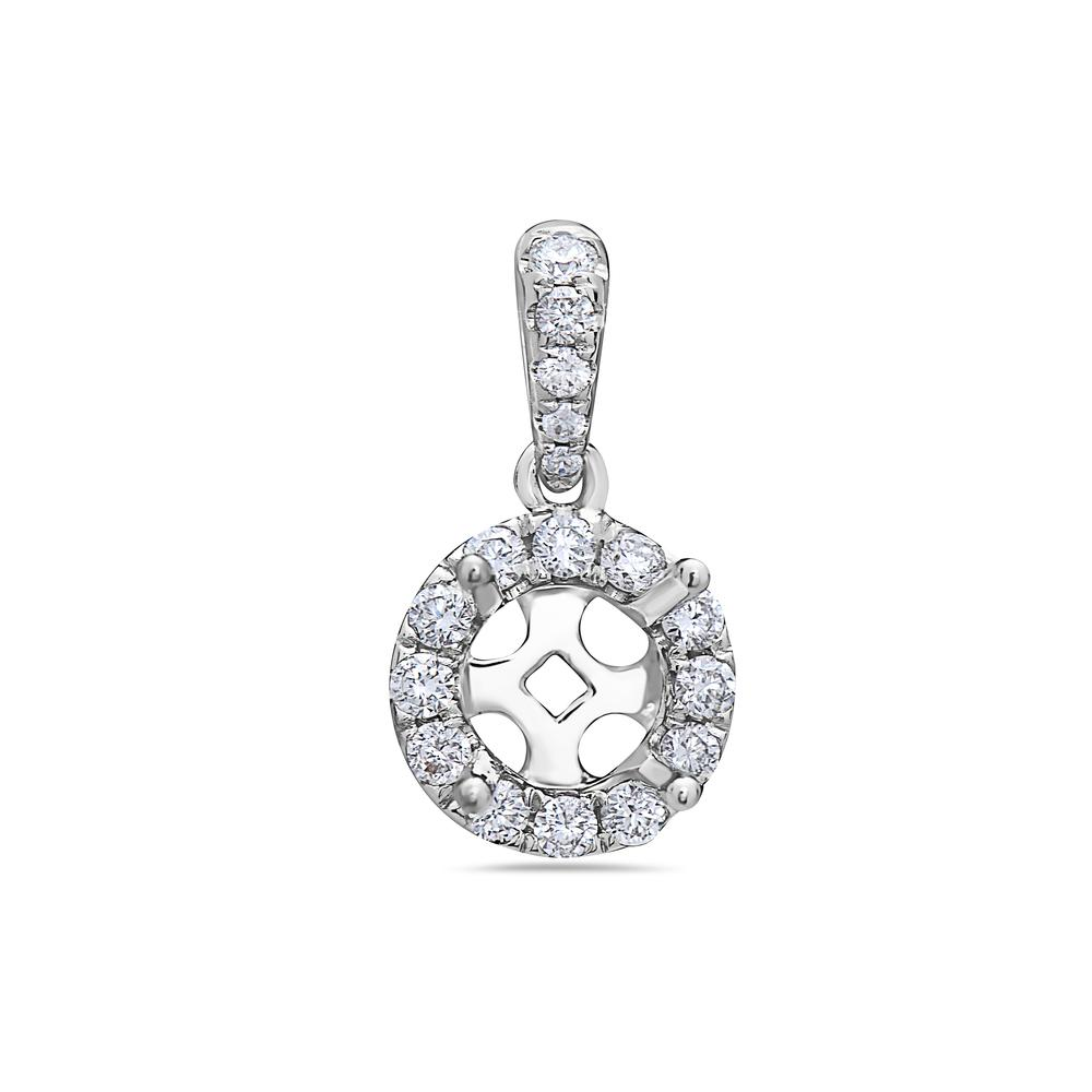 18K White Gold Rounded Design Women's Pendant With 0.20 CT Diamonds