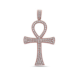 Unisex 14K Rose Gold Ankh Pendant with 3.25 CT Diamonds