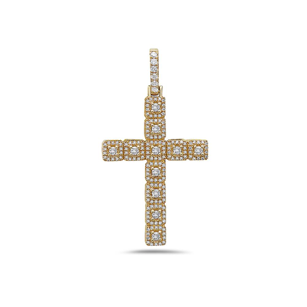 Unisex 14K Yellow Gold Cross Pendant with 0.62 CT Diamonds